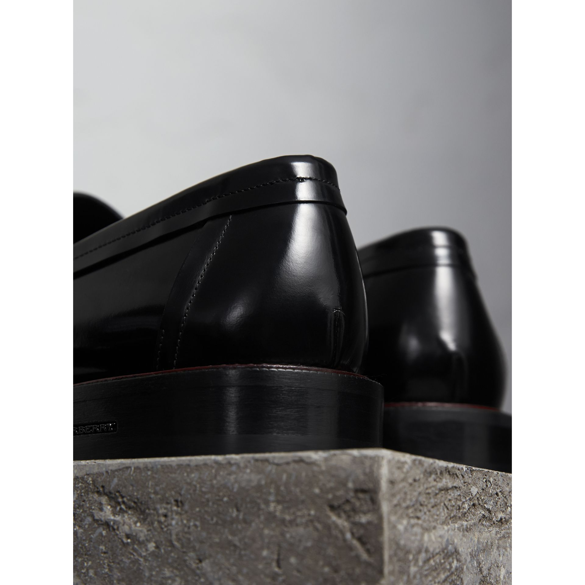 Two-tone Leather Penny Loafers in Black - Men | Burberry Canada - gallery image 3