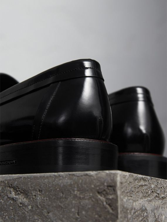 Two-tone Leather Penny Loafers in Black - Men | Burberry Canada - cell image 3