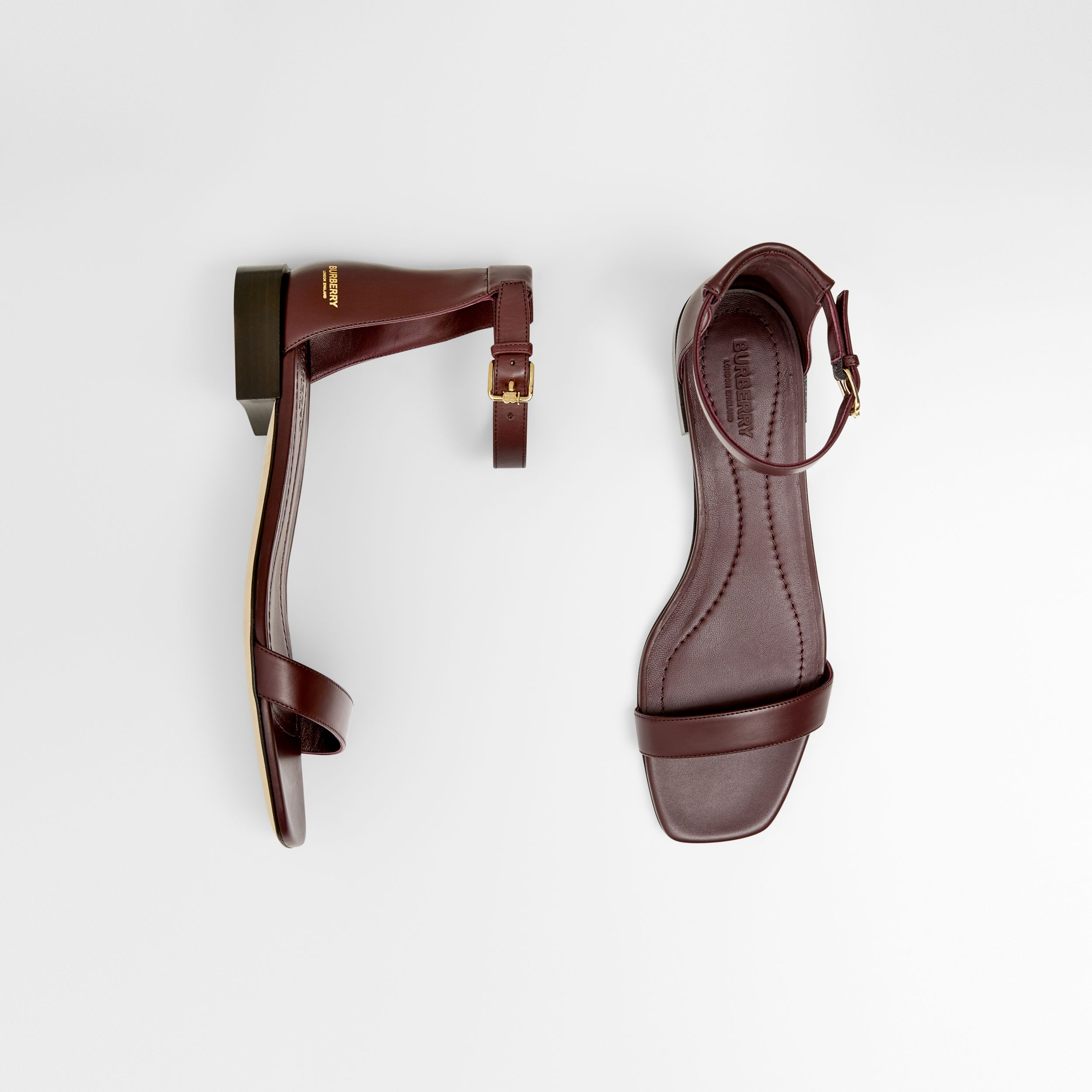 Logo Embossed Leather Sandals in Oxblood - Women | Burberry - 1