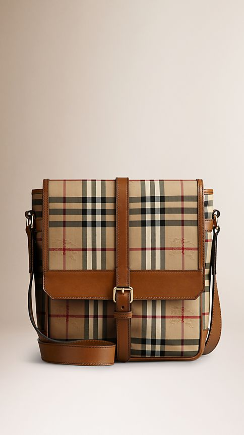 Tan Horseferry Check and Leather Crossbody Bag - Image 1