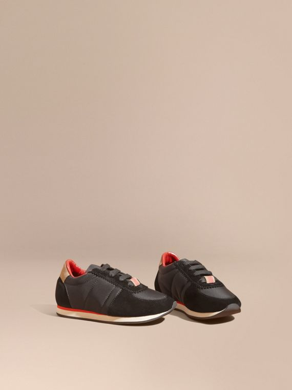 House Check Trim Suede and Technical Nylon Sneakers in Black