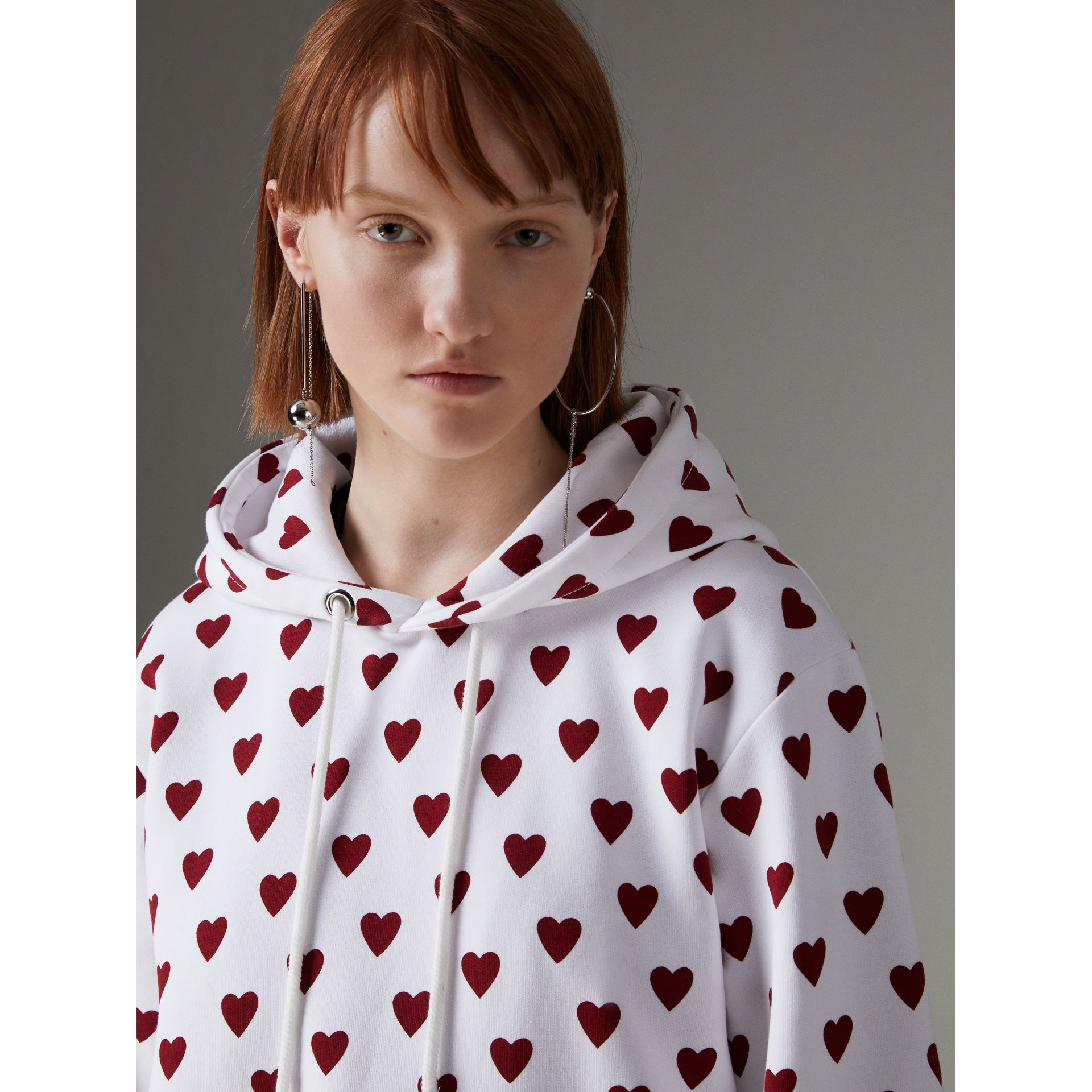 Heart Print Hoodie in Windsor Red - Women | Burberry United Kingdom - gallery image 1