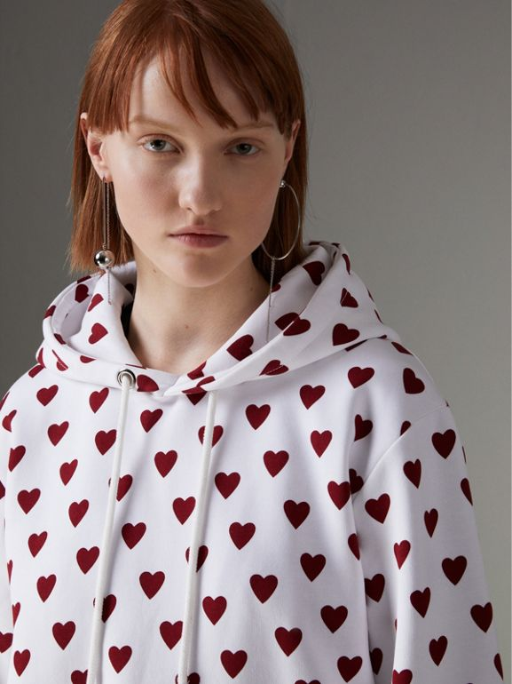Heart Print Hoodie in Windsor Red - Women | Burberry - cell image 1