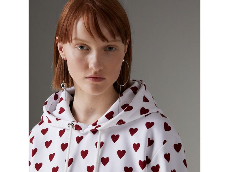 Heart Print Hoodie in Windsor Red - Women | Burberry United Kingdom - cell image 1