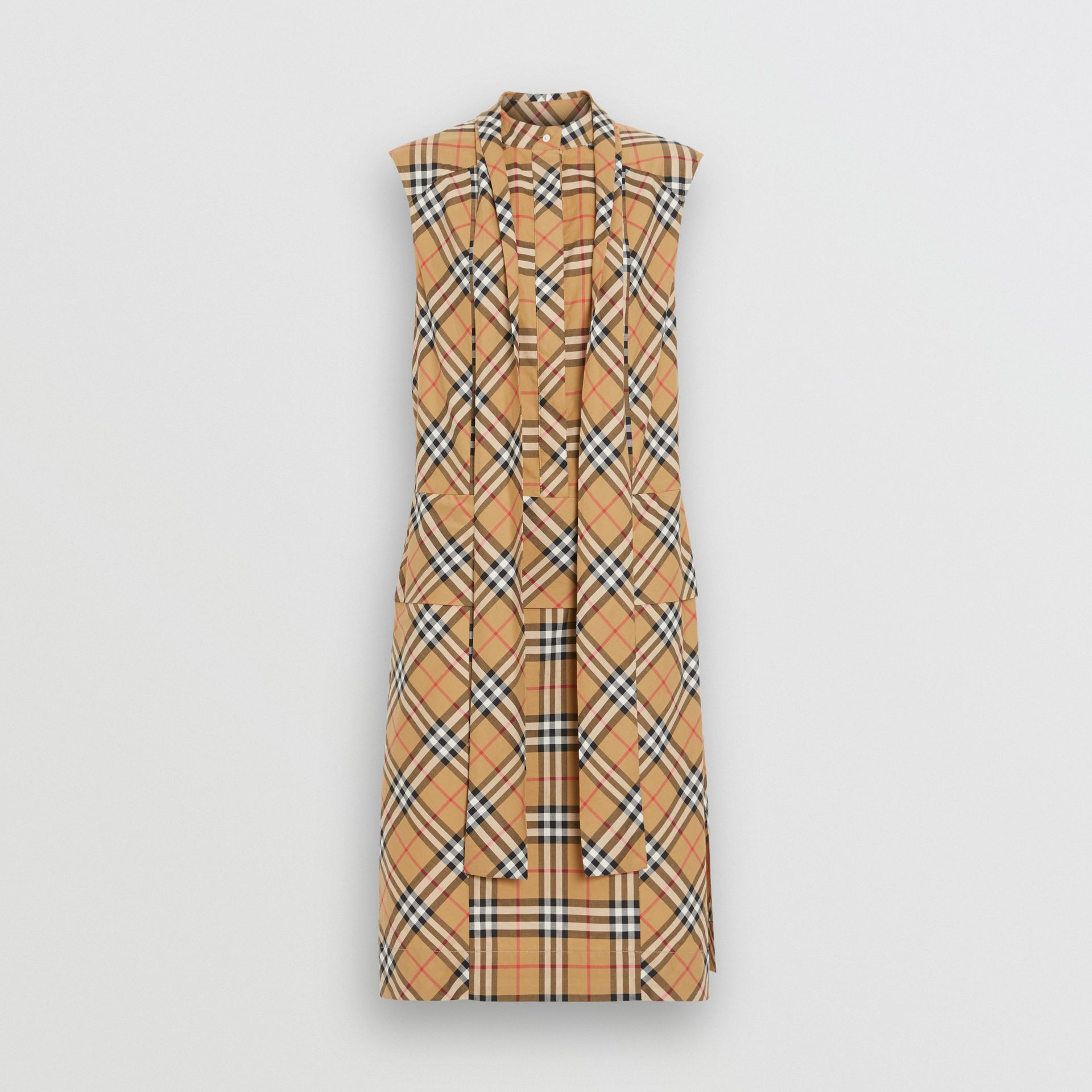 Vintage Check Cotton Tie-neck Dress in Antique Yellow - Women | Burberry - gallery image 2