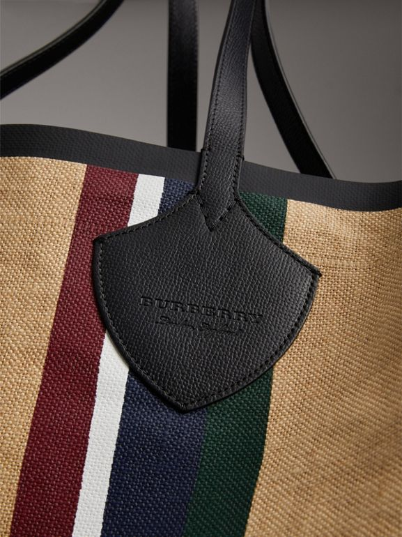The Giant Tote in Striped Jute in Black - Women | Burberry Canada - cell image 1