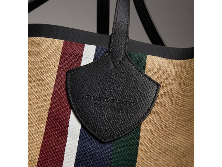 The Giant Tote in Striped Jute in Black - Women | Burberry - cell image 1