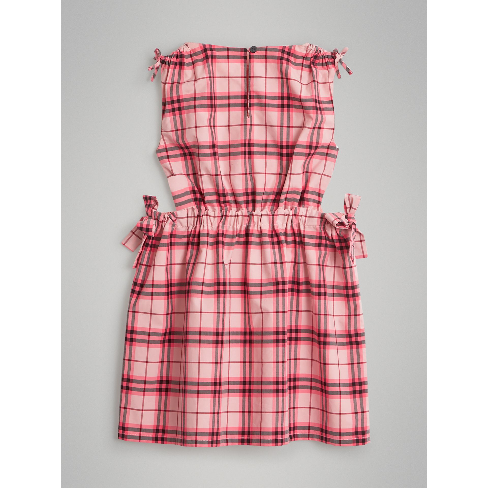 Tie Detail Check Cotton Dress in Bright Rose - Girl | Burberry - gallery image 3
