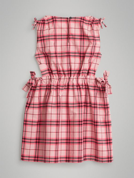 Tie Detail Check Cotton Dress in Bright Rose - Girl | Burberry United States - cell image 3