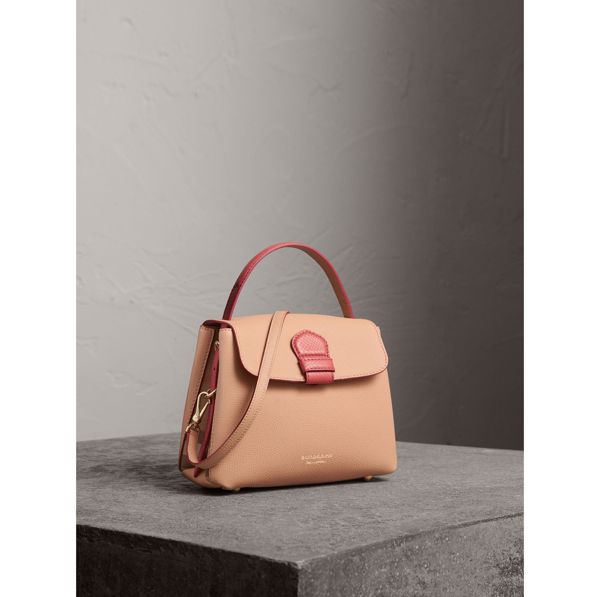 Small Two-tone Leather and House Check Tote in Pale Apricot - Women | Burberry Australia - gallery image 0