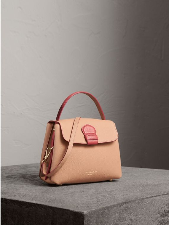 Small Two-tone Leather and House Check Tote in Pale Apricot
