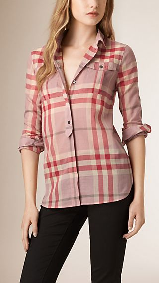 Placket Detail Check Cotton Shirt
