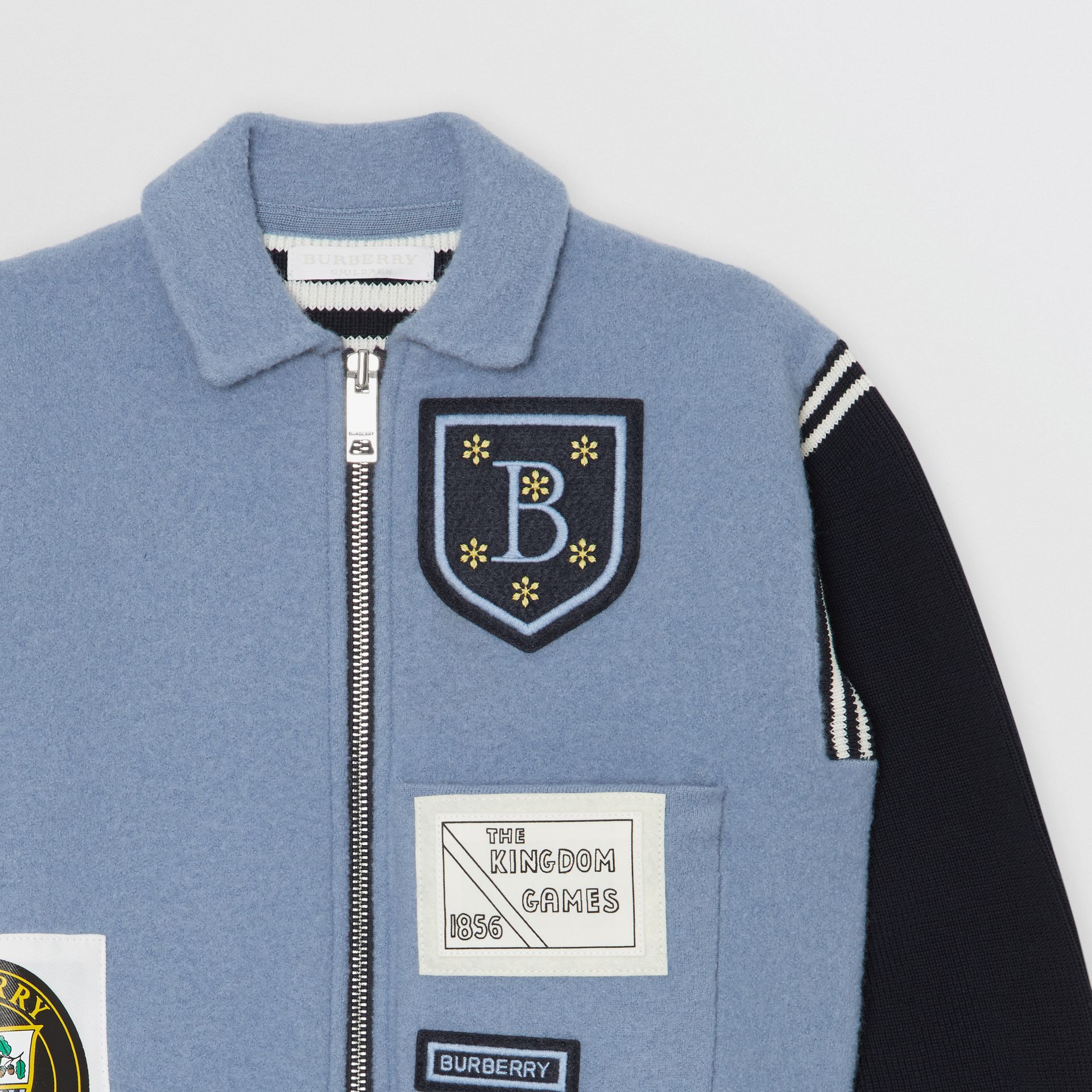 Patch Detail Merino Wool Blend Varsity Jacket in Dusty Blue - Children | Burberry - gallery image 4