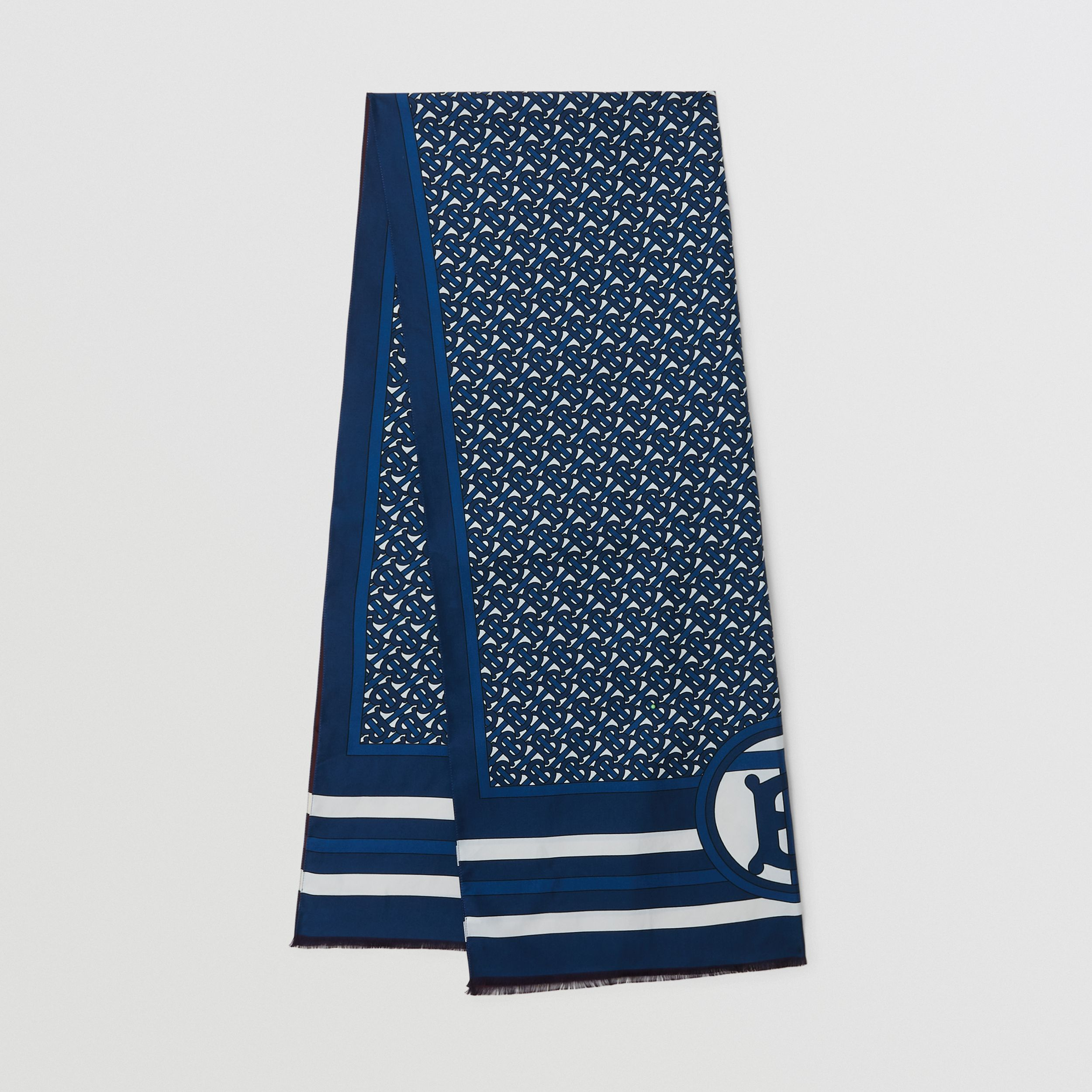 Reversible Monogram Print Silk Scarf in Cerulean Blue | Burberry - 1