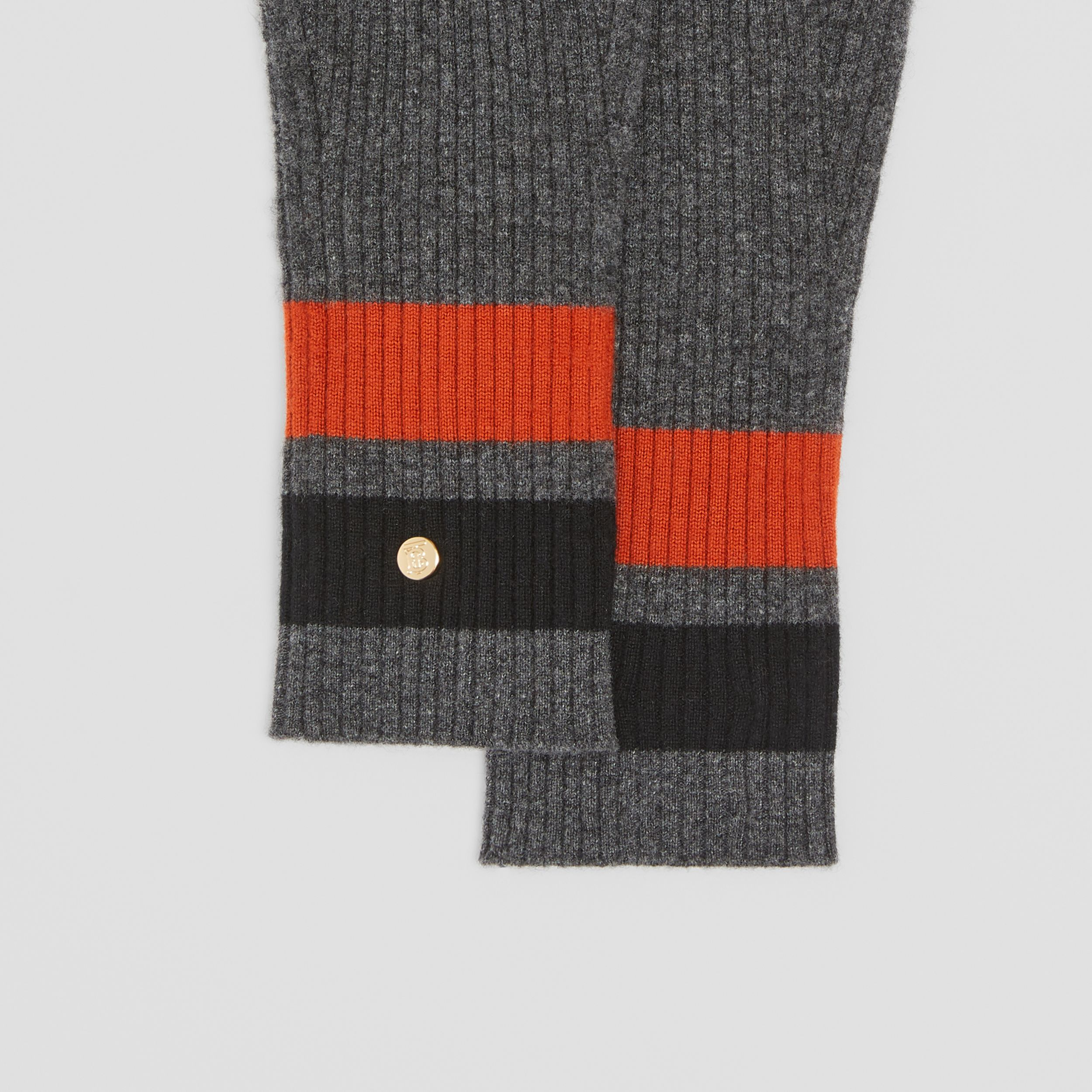 Monogram Motif Merino Wool Cashmere Gloves in Dark Grey | Burberry - 2