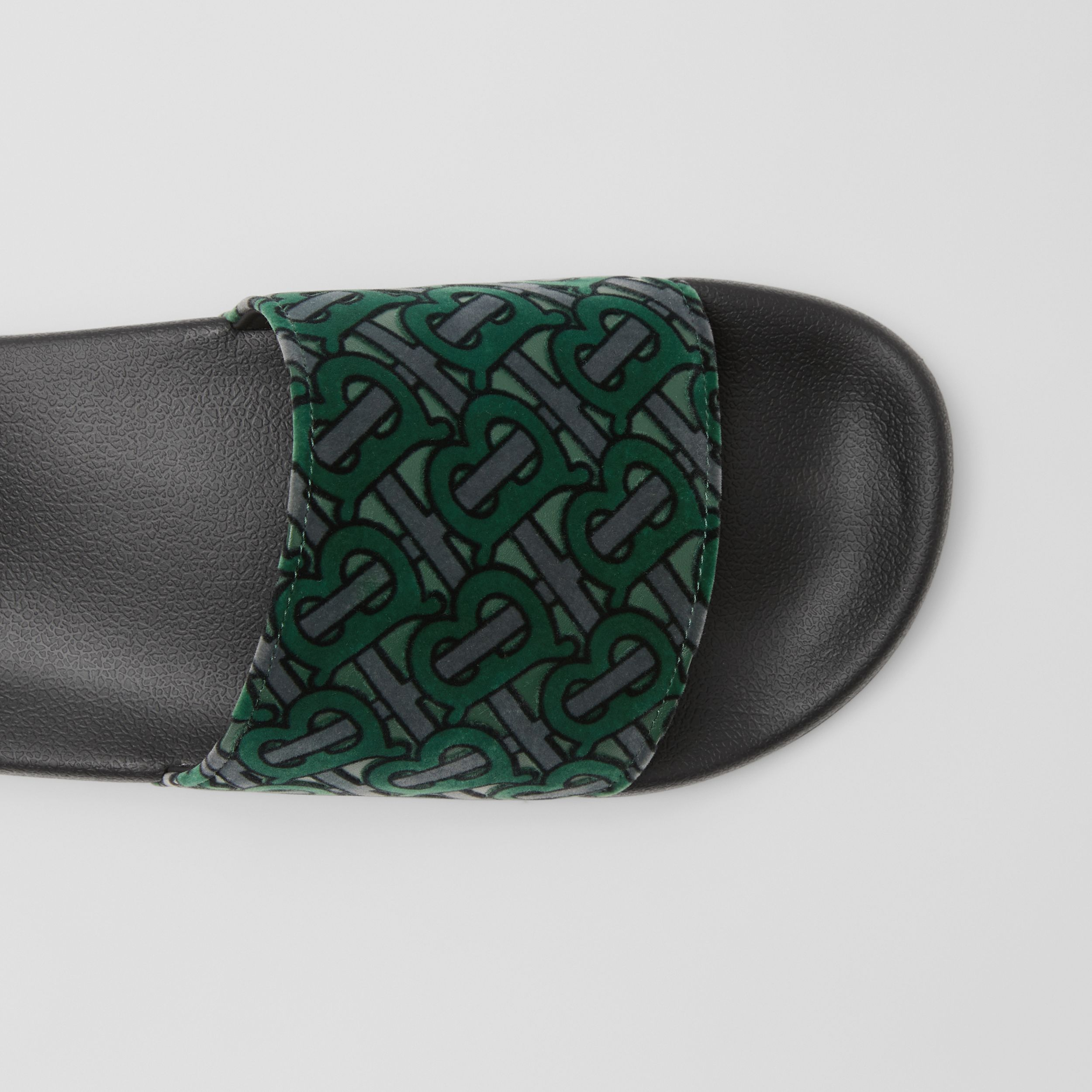 Monogram Flocked Leather Slides in Dark Forest Green - Men | Burberry United Kingdom - 2