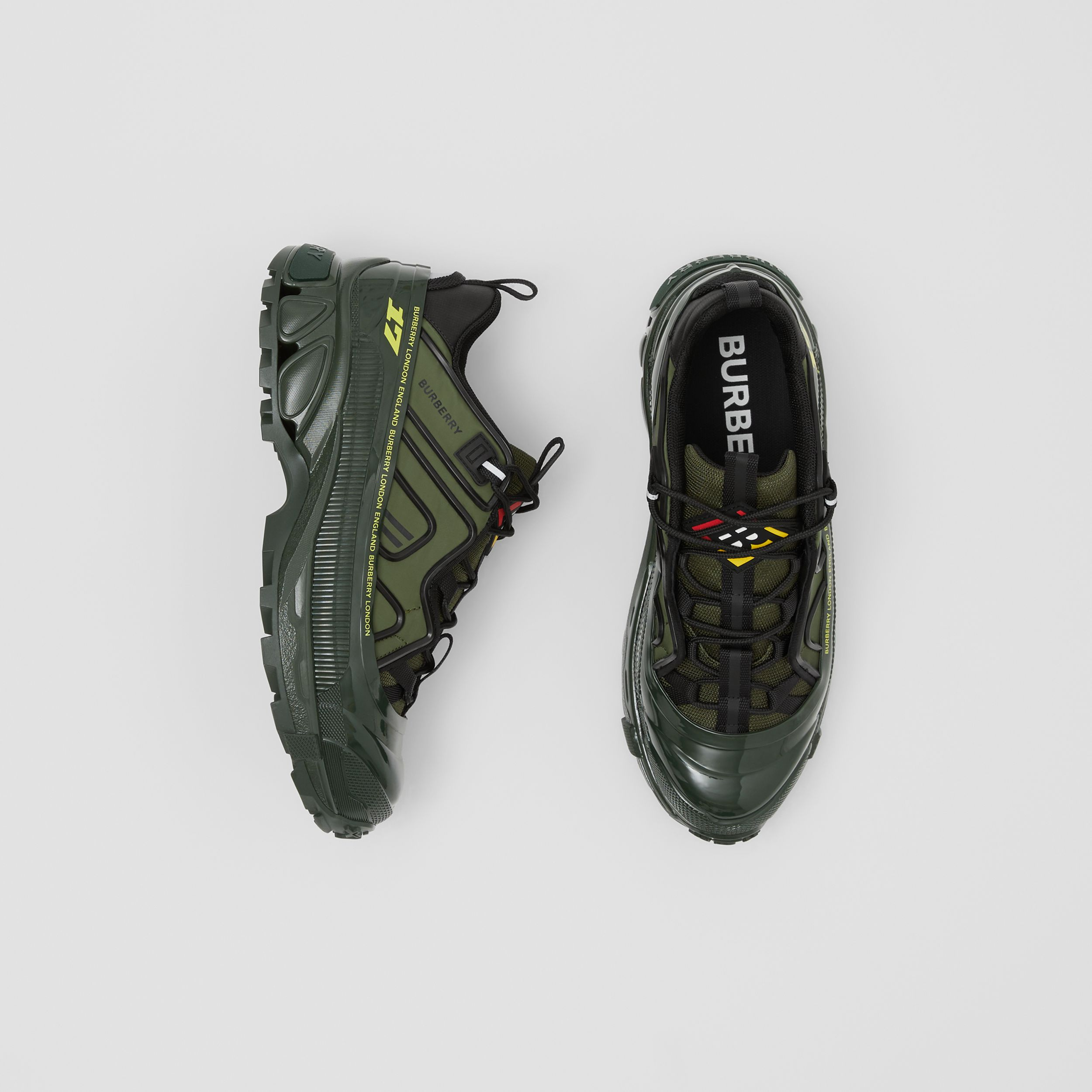 Nylon and Suede Arthur Sneakers in Green - Men | Burberry - 1