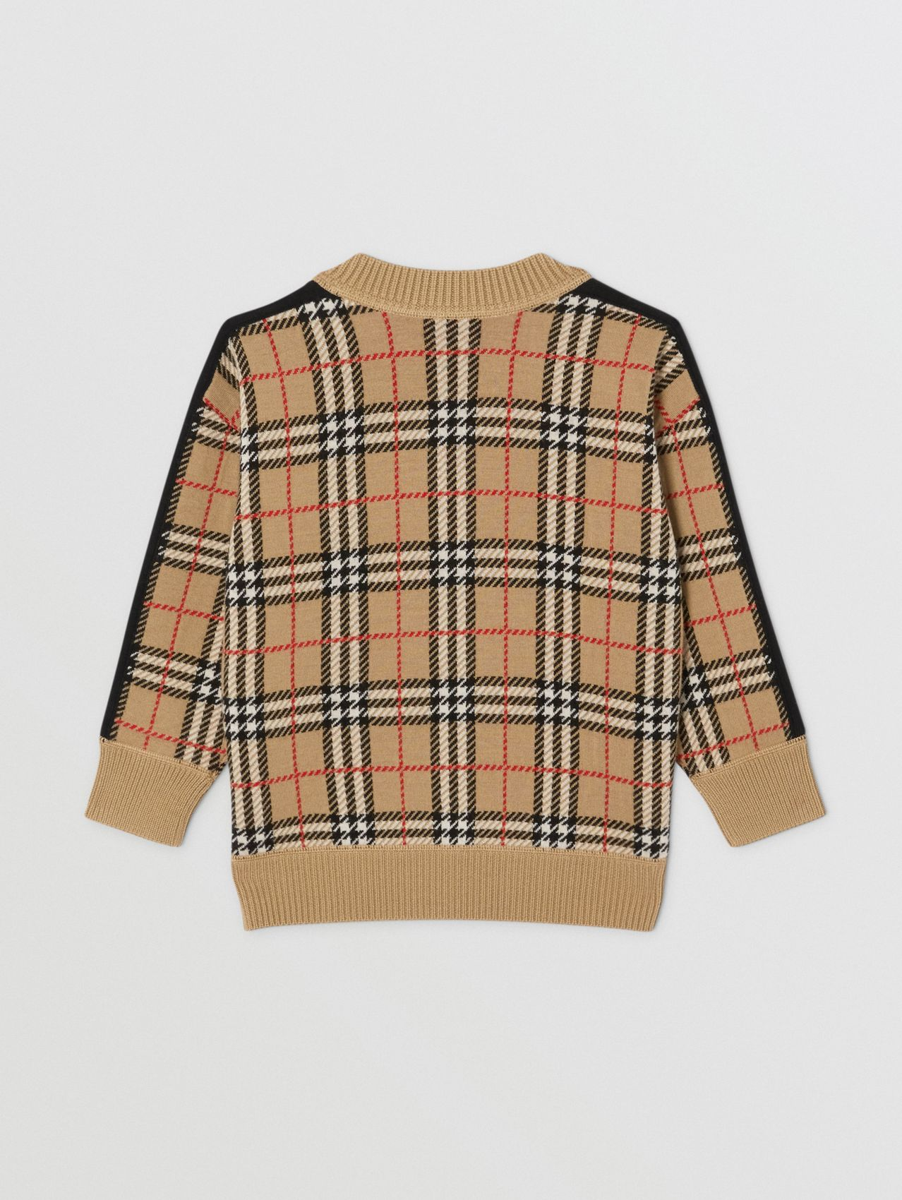 Check Wool Jacquard Sweater in Archive Beige