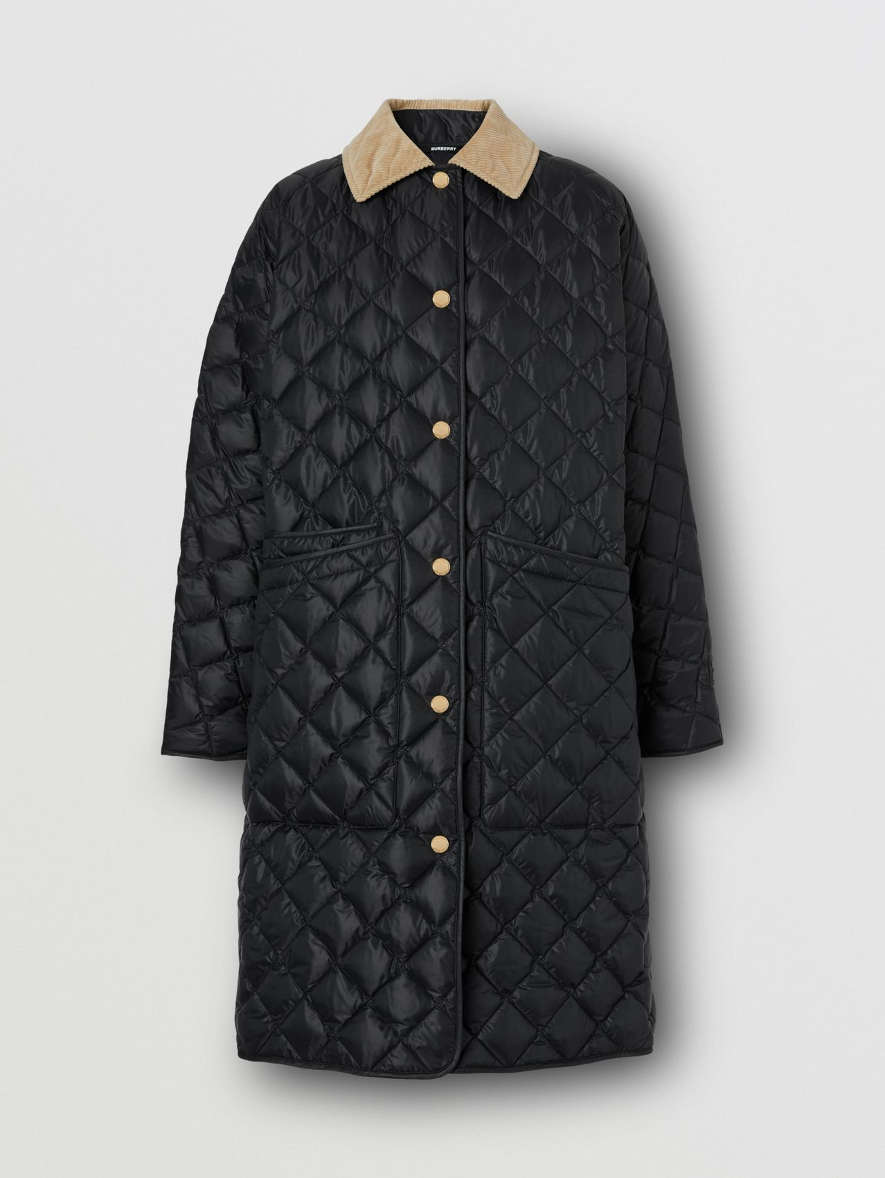 Corduroy Collar Diamond Quilted Car Coat in Black