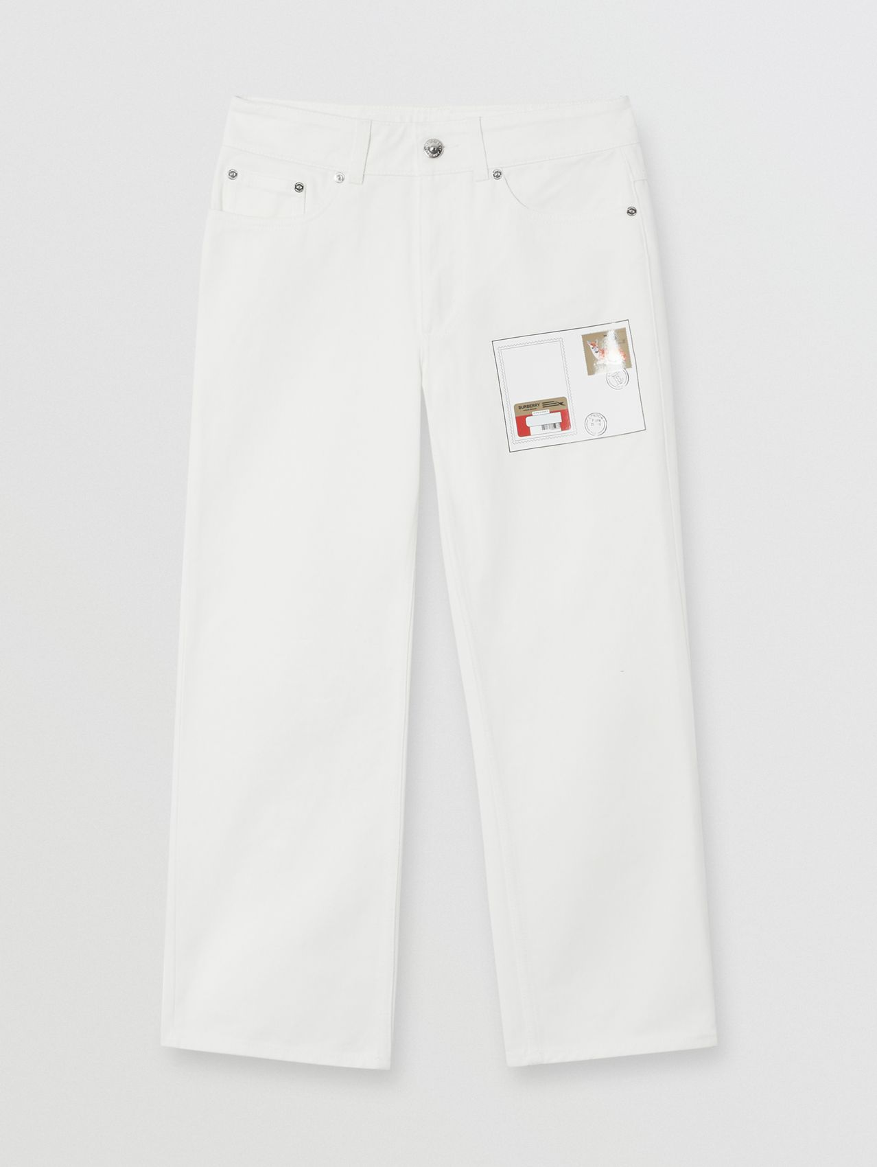 Straight Fit Montage Print Cropped Jeans in White