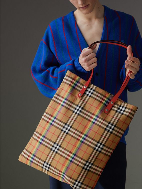 Bolso shopper grande con motivo Rainbow Vintage Checks (Peonía Intenso)