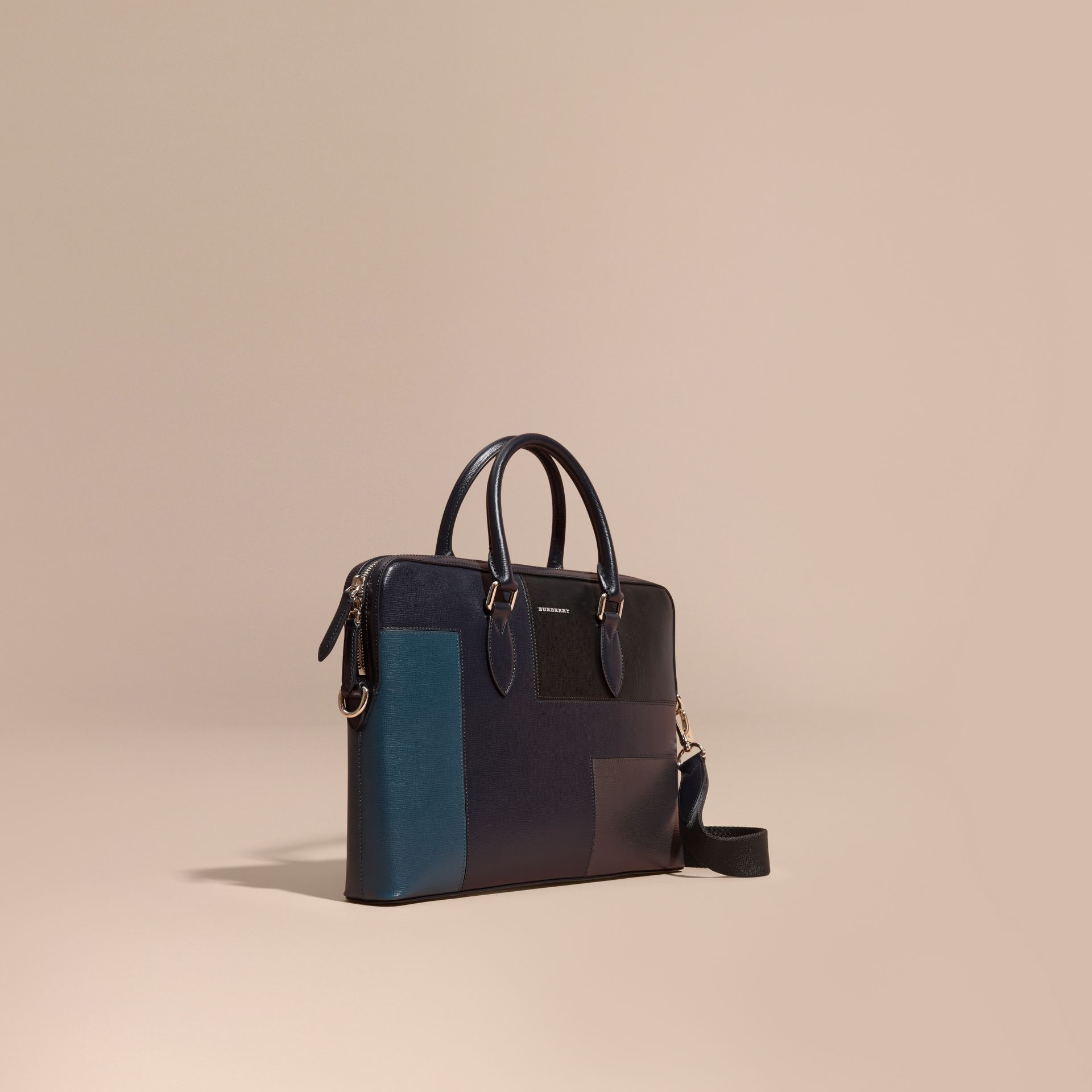 Dark navy The Slim Barrow Bag in Patchwork London Leather Dark Navy - gallery image 1