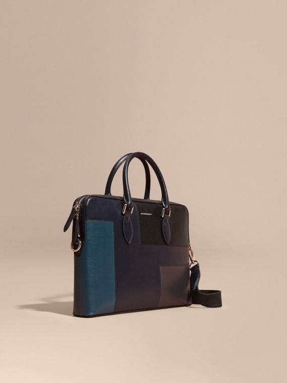The Barrow sottile in patchwork di pelle London Navy Scuro