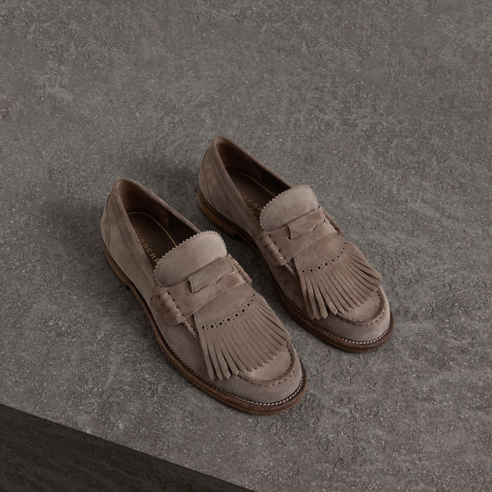 Kiltie Fringe Suede Loafers in Steel Grey - Men | Burberry - gallery image 0