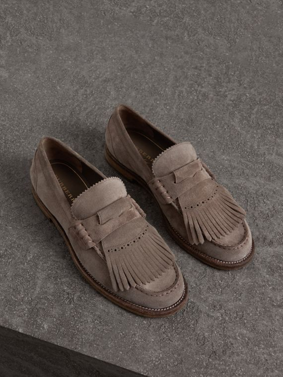 Kiltie Fringe Suede Loafers in Steel Grey