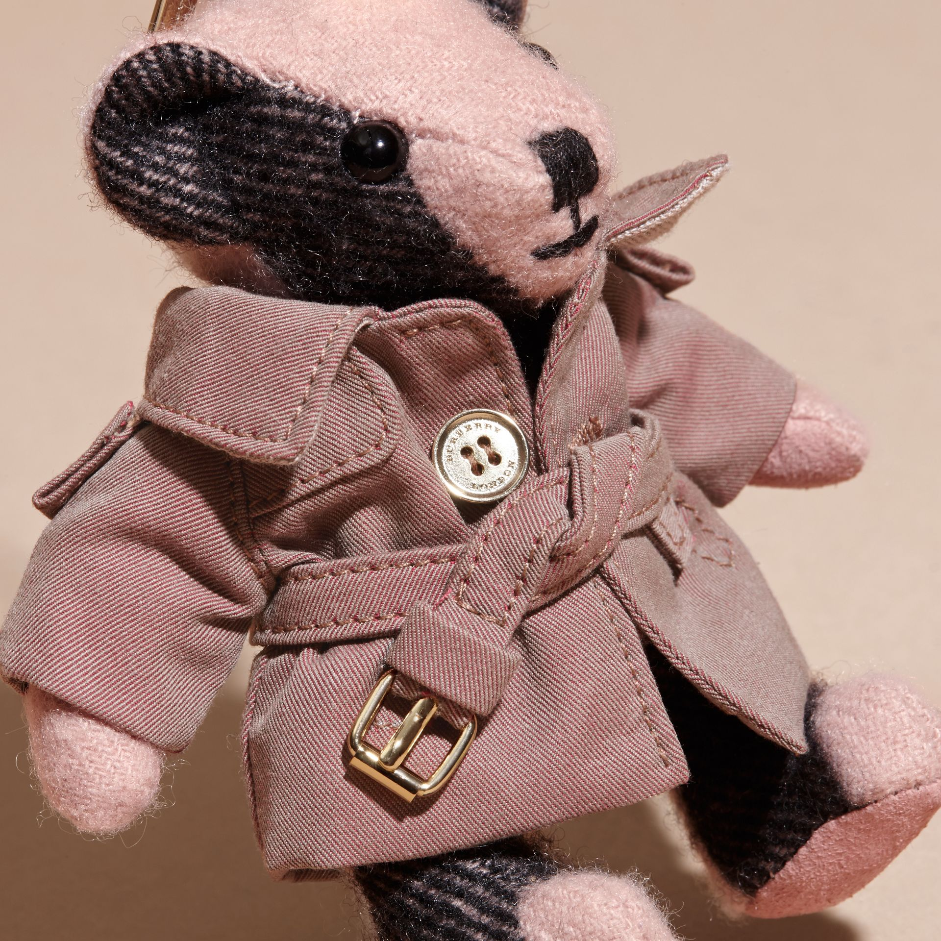 Thomas Bear Charm with Tropical Gabardine Trench Coat Ash Rose - gallery image 2
