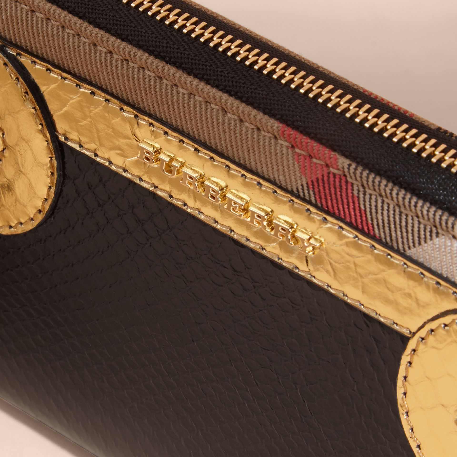 Snakeskin and House Check Ziparound Wallet in Black/gold - gallery image 2