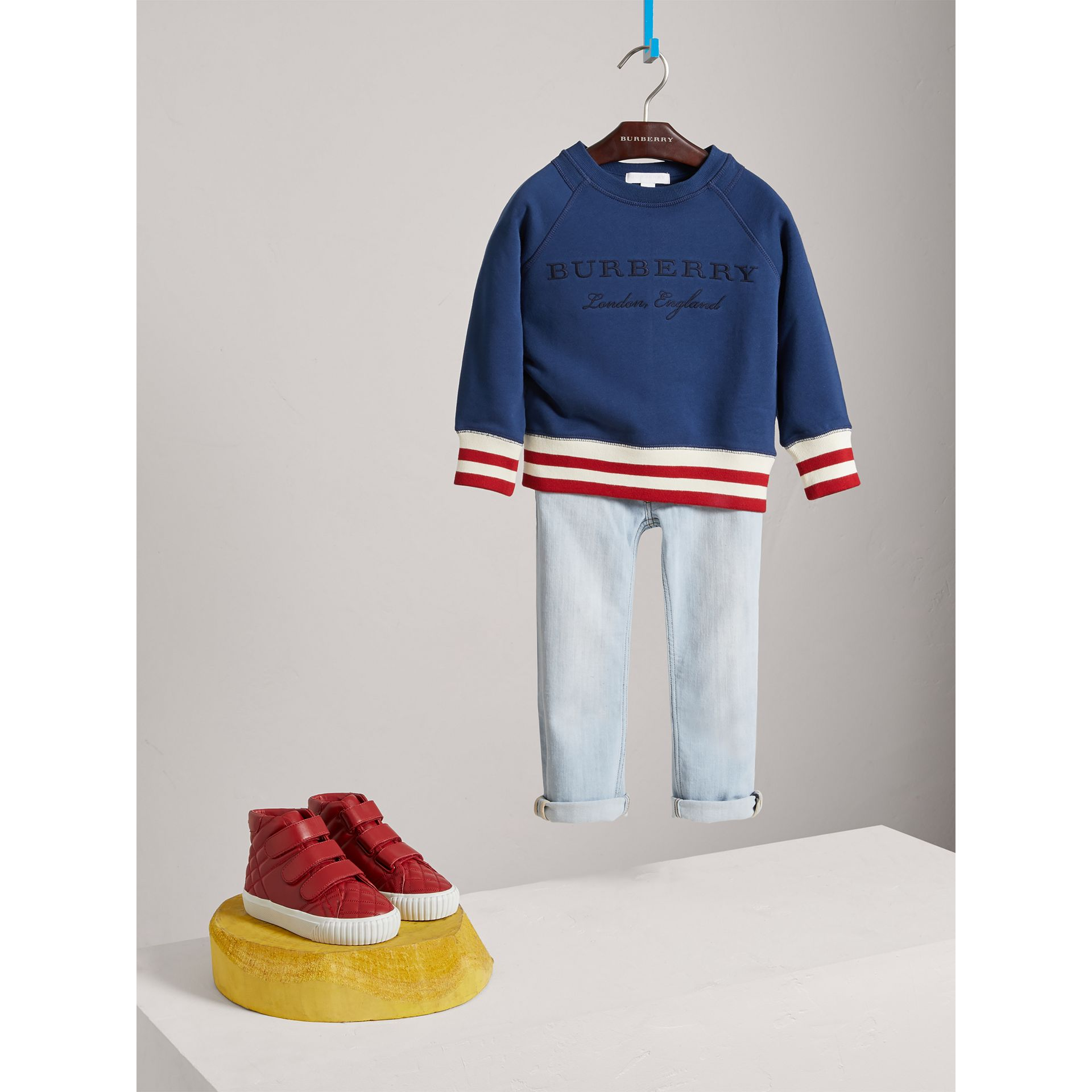 Striped Hem Embroidered Cotton Jersey Sweatshirt in Canvas Blue - Boy | Burberry Singapore - gallery image 2