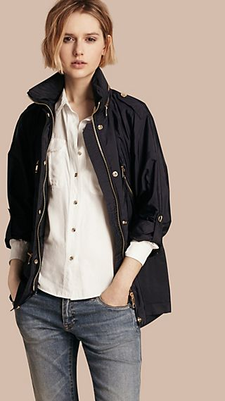 Showerproof Parka Jacket with Packaway Hood