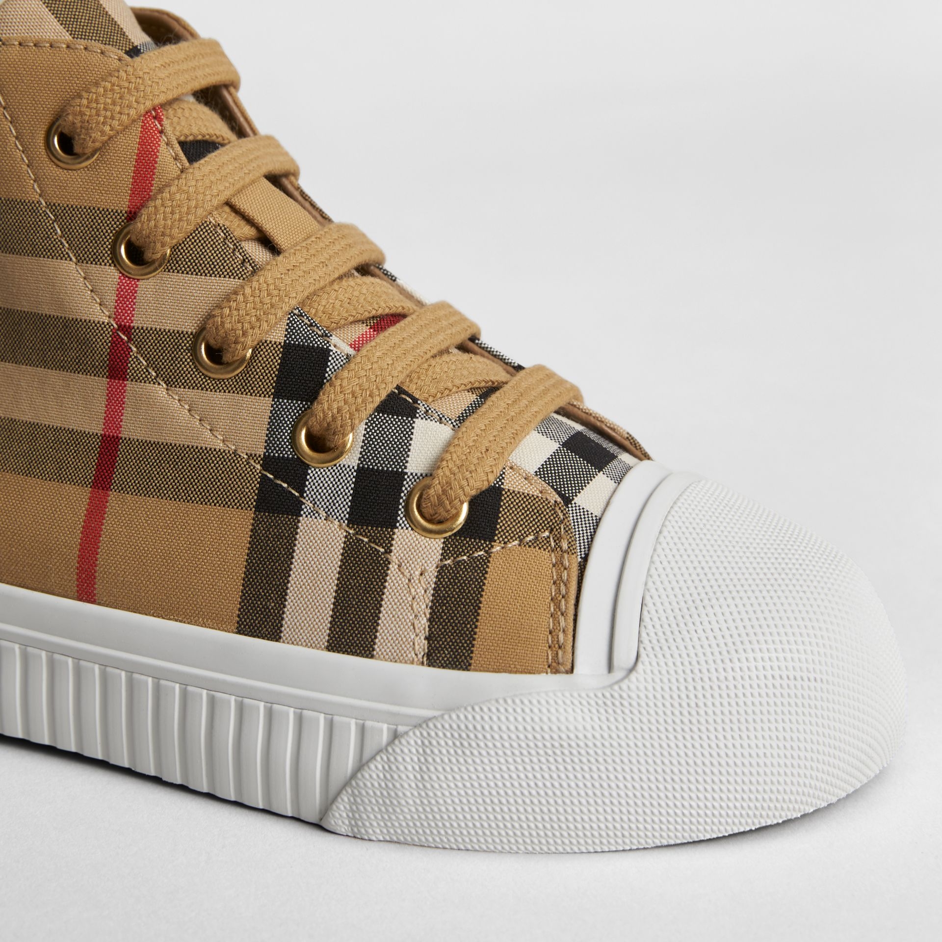 Vintage Check and Leather High-top Sneakers in Antique Yellow/optic White | Burberry United Kingdom - gallery image 1