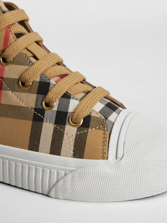 Vintage Check and Leather High-top Sneakers in Antique Yellow/optic White | Burberry United Kingdom - cell image 1