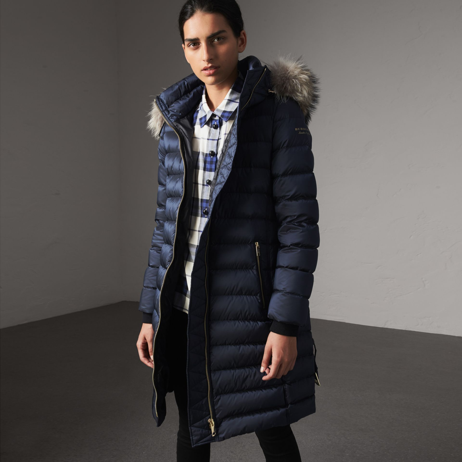 Detachable Fur Trim Down-filled Puffer Coat with Hood in Navy - Women | Burberry Canada - gallery image 0
