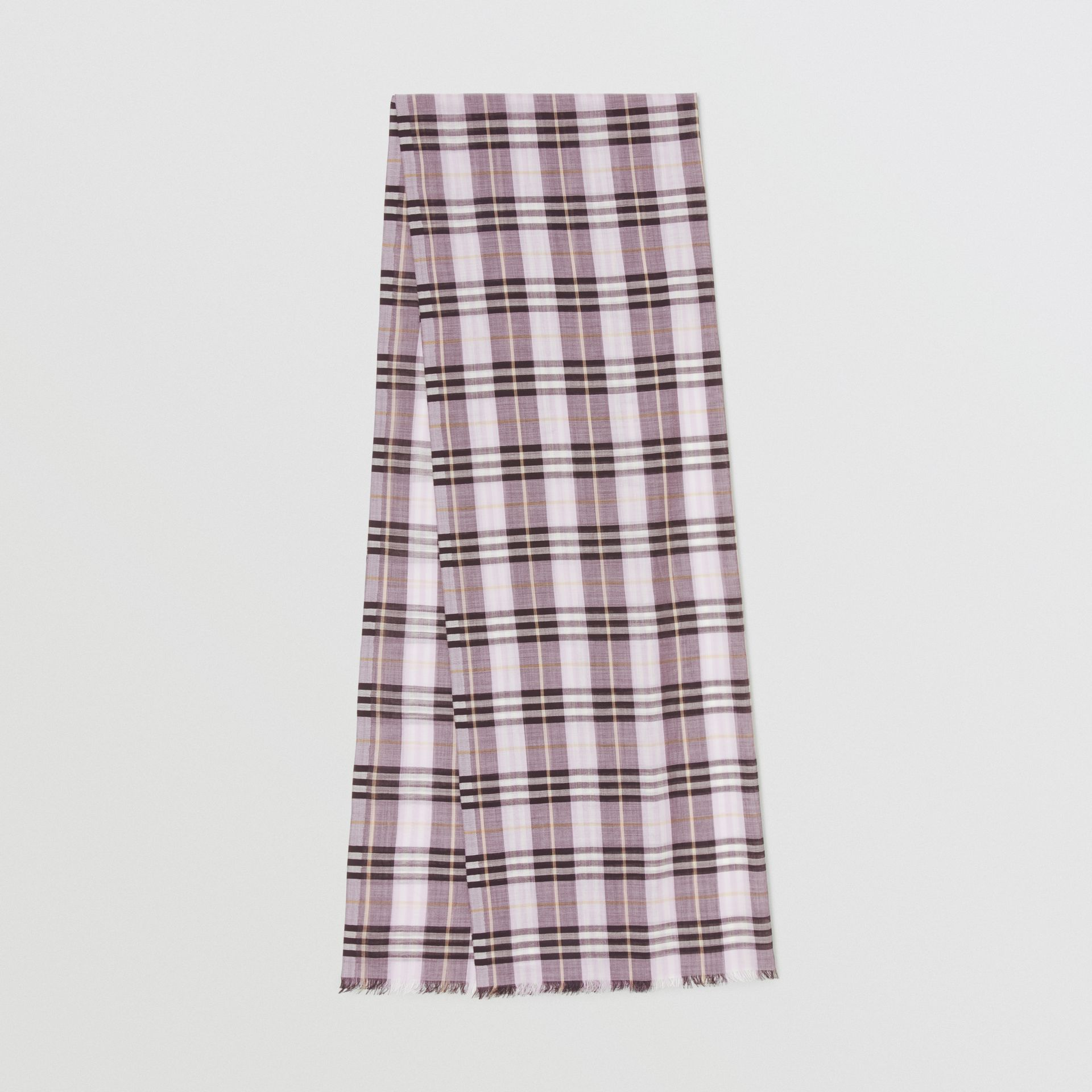 Vintage Check Lightweight Wool Silk Scarf in Lavender | Burberry Singapore - gallery image 0
