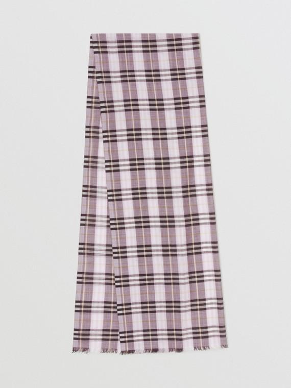 Echarpe de lã e seda em Vintage Check (Lavanda)
