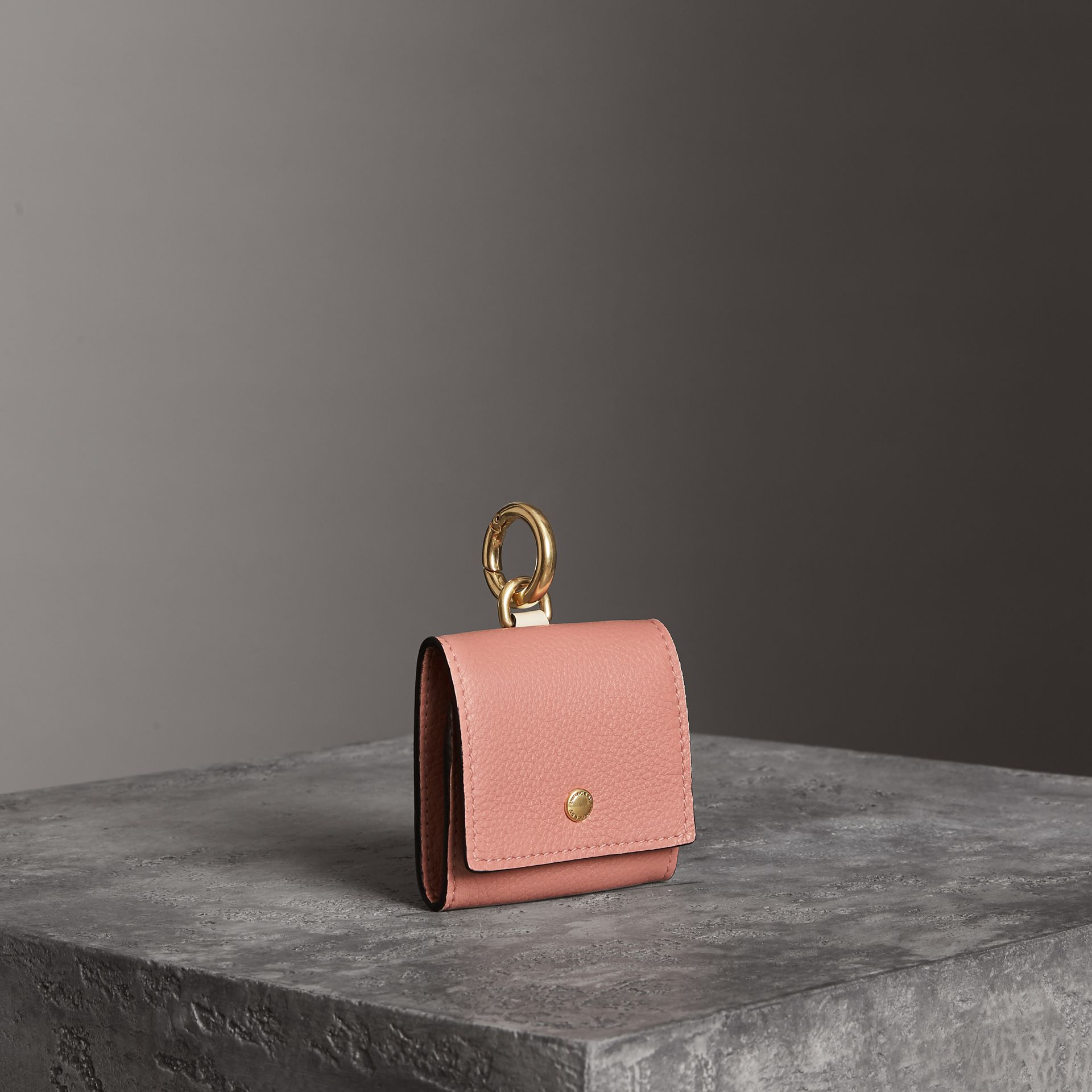Small Square Leather Coin Case Charm in Dusty Rose/limestone - Women | Burberry - gallery image 0