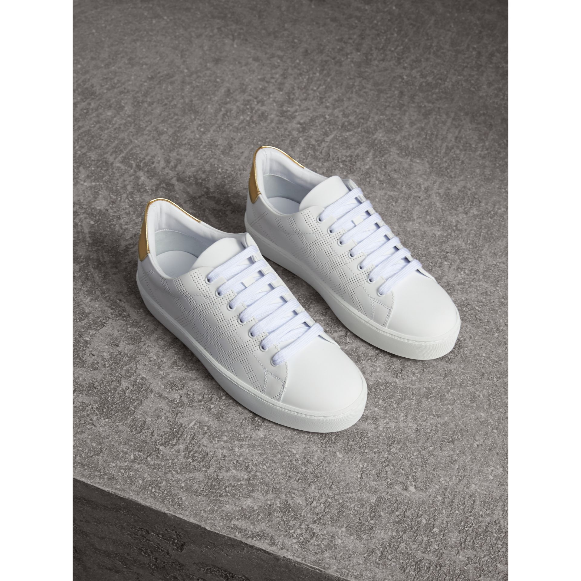 Perforated Check Leather Trainers in Optic White - gallery image 1