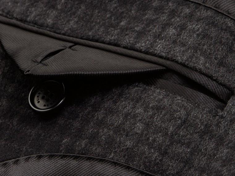 Camaïeu anthracite Manteau ajusté en laine et cachemire à motif check - cell image 1