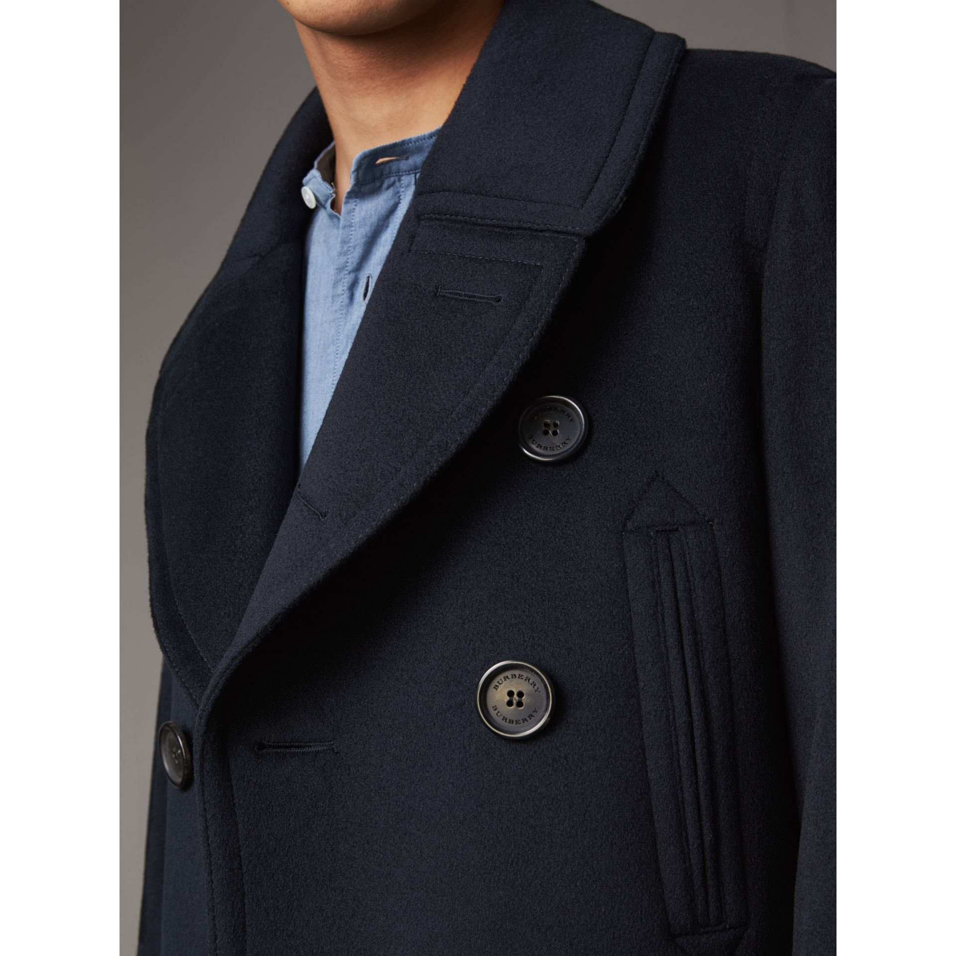 Wool Cashmere Pea Coat in Navy - Men | Burberry Australia - gallery image 5