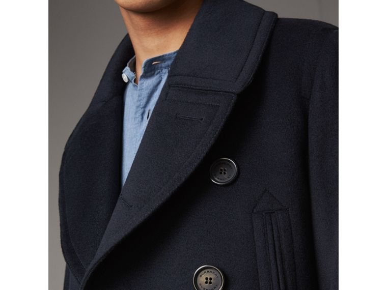 Wool Cashmere Pea Coat in Navy - Men | Burberry - cell image 4