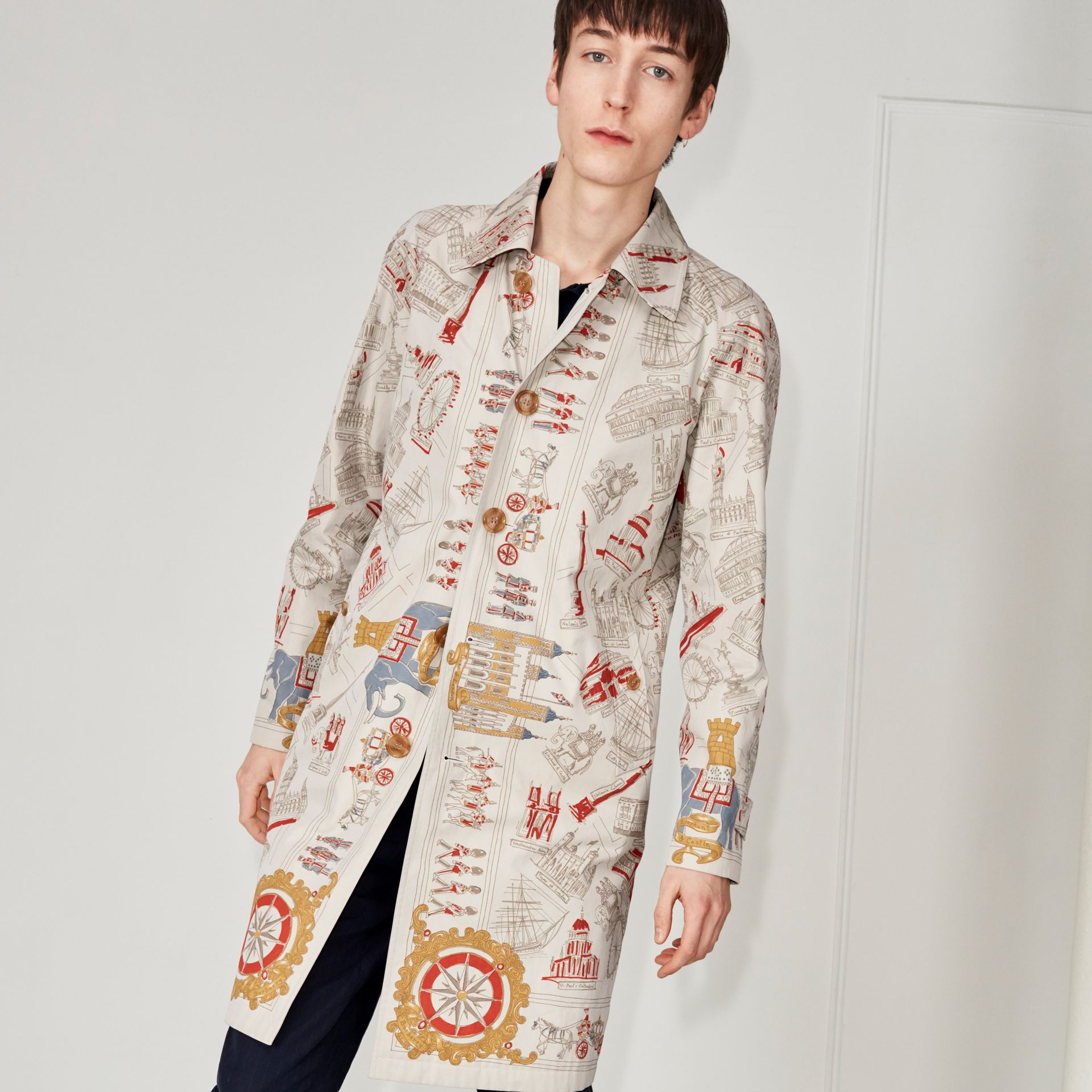 London Sketch Print Car Coat in Stone - Men | Burberry - gallery image 4