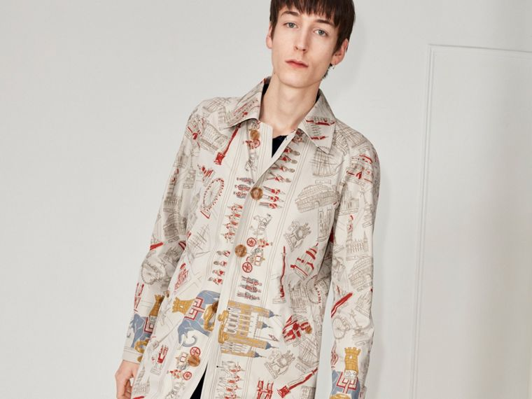 London Sketch Print Car Coat in Stone - Men | Burberry - cell image 4