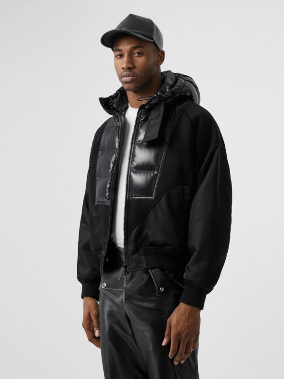 Puffer Detail Nylon and Neoprene Hooded Jacket in Black