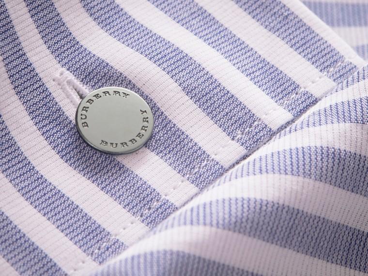 Unisex Pleated Bib Striped Cotton Shirt - cell image 1