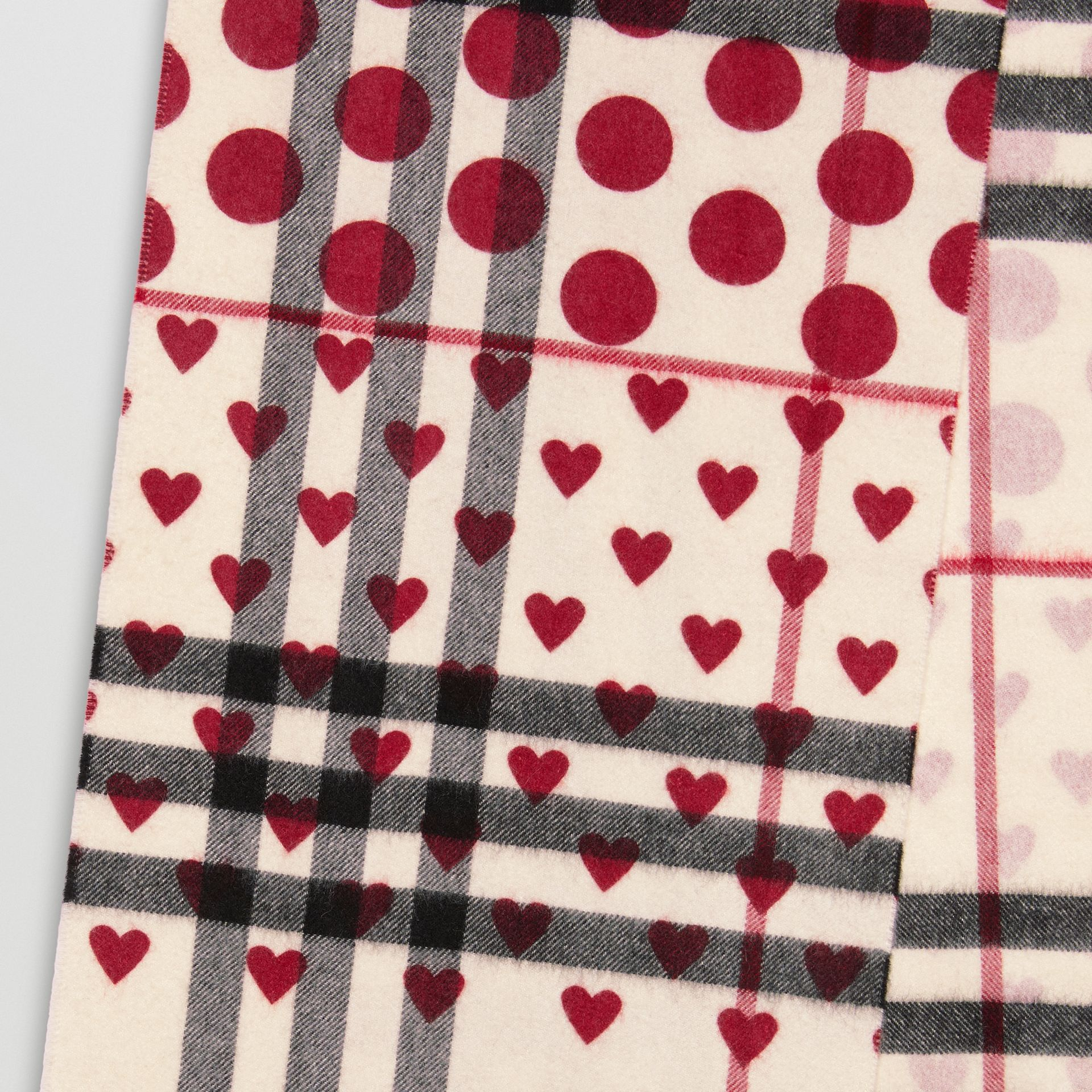 The Classic Heart Check Cashmere Scarf in Windsor Red | Burberry - gallery image 1