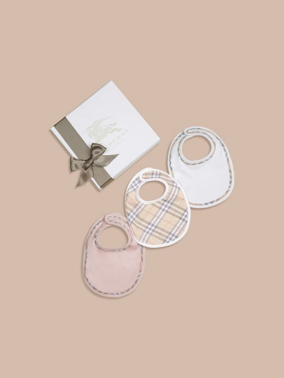 Check Cotton Three-Piece Baby Bib Gift Set in Powder Pink
