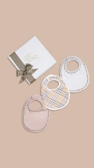 Check Cotton Three-Piece Baby Bib Gift Set